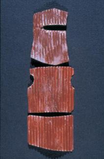 Tin Suit 4 collage: 14 x 5 cm cardboard, spray enamel, red iron oxide