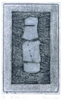 Tin Suit, No.2; 28 x 18 cm collagraph and chine colle from a series of four
